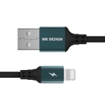 WK WDC-073 1m 2.4A Output Smart Series USB to 8 Pin Auto Cutout Data Sync Charging Cable (Black)
