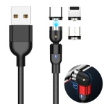 1m 2A Output 3 in 1 USB to 8 Pin + USB-C / Type-C + Micro USB Nylon Braided Rotate Magnetic Charging Cable (Black)