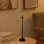 100 LEDs Dandelion Copper Wire Table Lamp Decoration Creative Bedside Night Light Gift, Battery Powered(Warm White)
