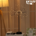 100 LEDs Dandelion Copper Wire Table Lamp Decoration Creative Bedside Night Light Gift, USB Powered(Warm White)