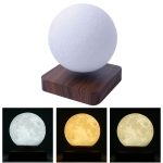 Magnetic Levitation 3D Print Moon Lamp 3-color Touch Control Night Light with Base, Diameter:15CM, US Plug(Dark Brown)