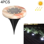 4 PCS Outdoor IP65 Waterproof Solar Powered Imitation Marble LED Underground Light Villa Garden Courtyard Lawn Decorative Spotlight