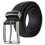 Twill Texture Fashion Alloy Pin Buckle Casual Men PU Belts Clothes Accessories, Width: 3.3cm, Length: 107cm(Black)