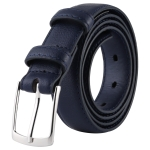 Twill Texture Fashion Alloy Pin Buckle Casual Men PU Belts Clothes Accessories, Width: 2.8cm, Length: 115cm(Dark Blue)