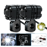 CS-1087A1 1 Pair Motorcycle Aluminum Alloy Super Bright LED Headlight Two-color Filter Spotlight (Black)