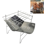 Outdoor Camp Portable Folding Stainless Steel Barbecue Charcoal Grill (Silver)