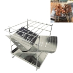 Outdoor Camp Portable Folding Stainless Steel Barbecue Charcoal Grill + Base Plate (Silver)
