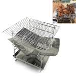 Outdoor Camp Portable Folding Stainless Steel Barbecue Charcoal Grill + Wire Mesh & Base Plate (Silver)