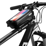 WILD MAN E2 Waterproof Front Bag MTB Mobile Phone Sets Bicycle Tube Bag Riding Accessories (Black)