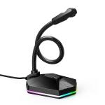 HXSJ TSP201 RGB Light Emitting Flexible USB Driveless Voice Chat Video Conference Microphone, Cable Length: 2m (Black)