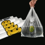 5 Sets 3C Transparent Smiley Plastic Bag Shopping Bag Packaging Bag(50 PCS / Set), Size: 28x45cm