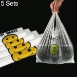 5 Sets 5C Thick Transparent Smiley Plastic Bag Shopping Bag Packaging Bag(50 PCS / Set), Size: 38x58cm