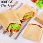 100 PCS Disposable Oil-proof Kraft Paper Bag Food Grade Oil-proof Moisture-proof Bag, Size: 17x18cm