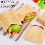 100 PCS Disposable Oil-proof Kraft Paper Bag Food Grade Oil-proof Moisture-proof Bag, Size: 25x28cm
