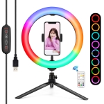 PULUZ 10 inch 26cm Marquee LED RGBWW Light + Desktop Tripod Mount 168 LED Dual-color Temperature Dimmable Ring Vlogging Photography Video Lights with Cold Shoe Tripod Ball Head & Remote Control & Phone Clamp (Black)
