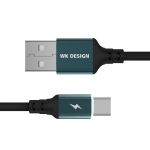WK WDC-073 1m 2.4A Output Smart Series  USB to USB-C / Type-C Auto Cutout Data Sync Charging Cable (Black)