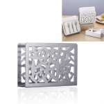 2 PCS Restaurant Hotel Napkin Nolder Paper Towel Holder Stainless Steel Square Towel Holder, Style:Grilles (Sanding)