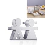 2 PCS Restaurant Hotel Napkin Nolder Paper Towel Holder Stainless Steel Square Towel Holder, Style:Lovers (Sanding)