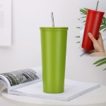 Stainless Steel Straw Cup Outdoor Coffee Cup Leisure Sports Cup, Capacity:500ml(Green)