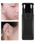 2 in 1 Ear Cleaning Cosmetic Silicone Buds Double-headed Recycling Cleaning Makeup Swabs Sticks(Black)