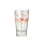 2 PCS Creative Cartoon Dual-use Scaled Water Glass Juice Milk Cup Student Printing Home Thickened Glass Cup, Style:Cup with Lid + Straw(Flamingo)