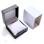 6 PCS PU Leather Watch Box Custom-made High-end flip Watch Box Jewelry Gift Packaging(Black inner white plastic box)