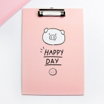 10 PCS Cute Cartoon Office Supplies File Clip A4 Writing Pad Student Test Paper Clip(Pink)