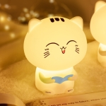 Creative Cute Cat Silicone Night Light Touch Control USB Charging Bedroom Bedside Desk Lamp with Recording Function(Blue)