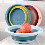 4 PCS Household Kitchen Silicone Collapsible Round Telescopic Drain Basket Random Color Delivery