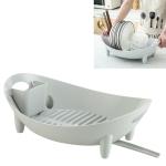 Tableware Storage Drain Dish Rack Multi-function Kitchen Utensil Rack(Gray)