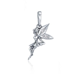 925 Sterling Silver Flower Fairy Dangle Pendant Women DIY Bracelets Necklaces Accessories