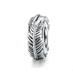 925 Sterling Silver Bohemia Feather Beads  For Women DIY Bracelet Accessories