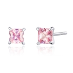 Sterling Silver Pink Diamond Earrings Simple Platinum Plated Earrings