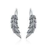Diamond Leaf Silver Earrings Female S925 Sterling Silver Earrings