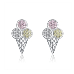 Sterling Silver Zircon Earrings Ice Cream Earring