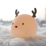 Creative Cute Deer Silicone Pat Light Mini USB Rechargeable LED Eye Protection Nursing Night Light(Pink)