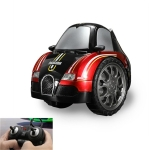 Remote Control Car Children 360 Degree Rotating Drift Dump Electric Two-wheeled Stunt Car Model Racing Toy, Proportion: Rechargeable Version(Buga Red)