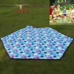 Outdoor Hexagonal Picnic Moisture-proof Mat Thicken Tent Floor Mat Waterproof Plus Fleece Folding Portable Child Crawling Mat, Specification (length * width): 240 x 240 cm(Blue Dots)