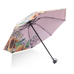 Sunflower Vinyl Sunscreen Double-layer Sunshade UV Umbrella Folding Rain and Sun Dual-purpose Umbrella(Pink)