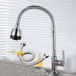 Kitchen Faucet Anti-splash Head Wash Basin Sink Universal Rotatable Faucet Full Copper Joint, Style:Cold Water+50 cm Tube