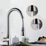 Kitchen Pull-out Faucet Hot And Cold Home 304 Stainless Steel Retractable Rotating Faucet, Style:Brushed copper