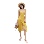 Summer Sexy V-neck Chiffon Sling Long Dress Wrap Skirt (Color:Yellow Size:S)