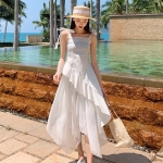 Summer Seaside Backless Sling Long Dress Beach Skirt Two-piece Set (Color:White Size:S)