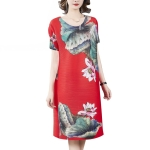 Summer Women Lotus Print Pleated Loose Dress (Color:Red Size:Free Size)