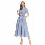 Denim Blue Shirt Dress With Slim Waistband Cardigan French Retro Striped Mid Length Skirt (Color:Blue Size:S)