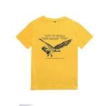 Versatile Printed Cotton Eagle Letter T-shirt (Color:Yellow Size:S)