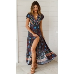 V-neck Cardigan Lace-up Printed Beach Dress (Color:Dark Blue Size:S)
