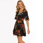 Buttoned Printed Booty Half Sleeve Tunic Dress (Color:Red Flower on Black Size:M)
