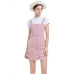 Corduroy Pocket Casual Strap Dress (Color:Pink Size:S)