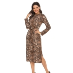 Snakeskin Texture Long-sleeved Bow Split Hip Skirt Stretch Slim Pencil Dress (Color:Coffee Size:M)